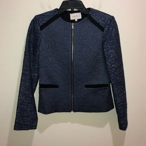 Sandro Size 36 Blue Tweed Zip Front Blazer Jacket
